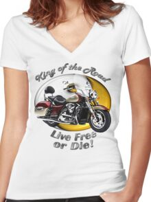 Kawasaki Nomad King Of The Road Women's Fitted V-Neck T-Shirt