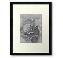 Sleeping Girl With Cat Framed Print