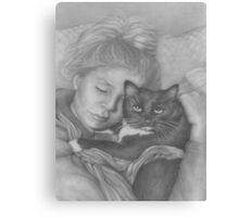 Sleeping Girl With Cat Canvas Print
