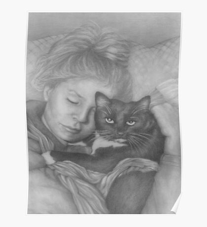 Sleeping Girl With Cat Poster