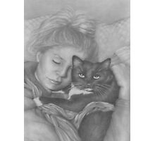 Sleeping Girl With Cat Photographic Print
