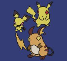 Pichu, Pikachu and Raichu by Funkymunkey