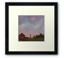 Windmill farm under a stormy sky. Framed Print