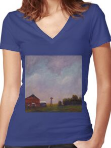 Windmill farm under a stormy sky. Women's Fitted V-Neck T-Shirt