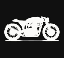 Cafe Racer T Shirt White by blacktopspirit