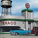 Route 66 1960 Small Town Texaco Gas Station by Walter Colvin