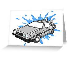 Delorean Car With Water Splash Greeting Card