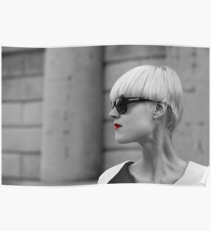 Black and white model portrait Poster
