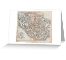 Maps: Antique 1837 Street Map of Boston Greeting Card