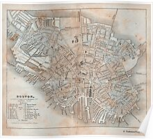 Maps: Antique 1837 Street Map of Boston Poster