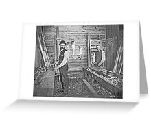 Cabinet Cards: 2 Finish Carpenters On Site c1880 Greeting Card