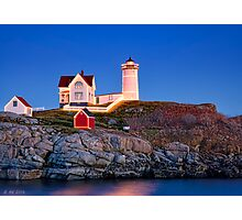 Nubble at Christmas Photographic Print