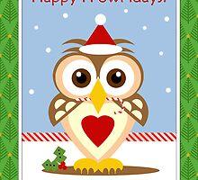 Owl Happy Holidays Card by xgdesignsnyc