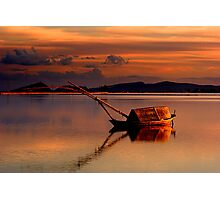 Lonely gaita at the lagoon of Messolonghi Photographic Print