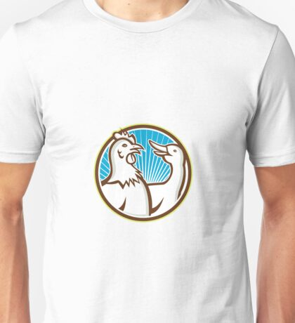 Chicken With Goose Cartoon Unisex T-Shirt