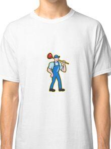 Plumber Holding Plunger Standing Cartoon Classic T-Shirt