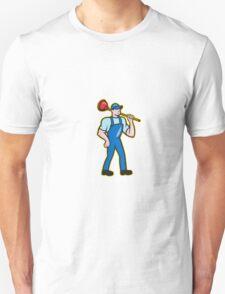 Plumber Holding Plunger Standing Cartoon T-Shirt