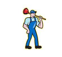 Plumber Holding Plunger Standing Cartoon by patrimonio