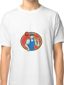 Plumber Holding Plunger Cartoon Classic T-Shirt