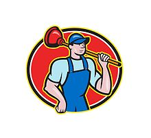 Plumber Holding Plunger Cartoon by patrimonio