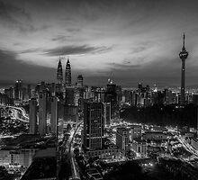 Sunrise over Kuala Lumpur (B&W) by Nur Ismail Mohammed