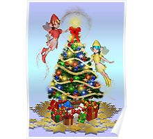 Fairies decorating the tree Poster