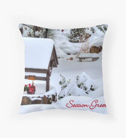 Wishing Well Christmas Card Throw Pillow