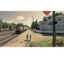 A moment at train station Photographic Print
