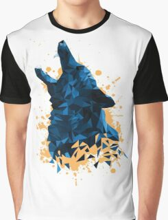 Blue Geometric Barking Shepherd Graphic T-Shirt
