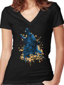 Blue Geometric Barking Shepherd Women's Fitted V-Neck T-Shirt