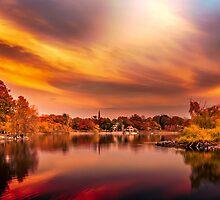 Sunset over Jamaica Pond by LudaNayvelt