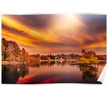 Sunset over Jamaica Pond Poster