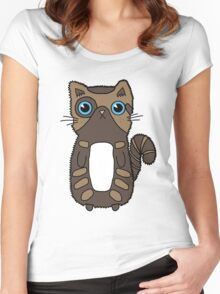 Cute Two Toned Brown Kitten Design With Bright Blue Eyes Women's Fitted Scoop T-Shirt