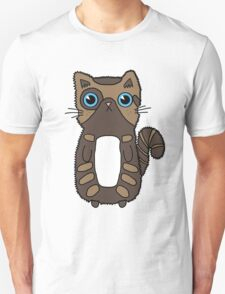 Cute Two Toned Brown Kitten Design With Bright Blue Eyes Unisex T-Shirt