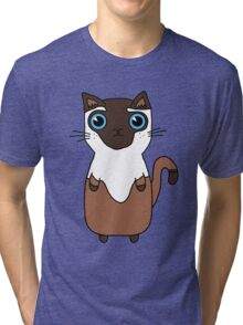 Brown And White Cute Kitten Design With Bright Blue Eyes Tri-blend T-Shirt