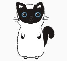 White And Black Cute Kitten Design With Bright Blue Eyes by Gemma1995