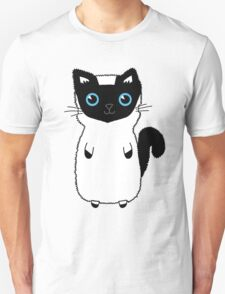 White And Black Cute Kitten Design With Bright Blue Eyes Unisex T-Shirt