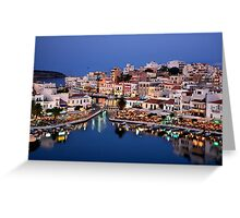 Blue hour in Agios Nikolaos Greeting Card