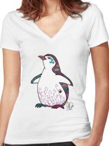 Penguin in Sharpie  Women's Fitted V-Neck T-Shirt