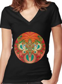 Red Owl Women's Fitted V-Neck T-Shirt