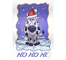 Cow Christmas Card Poster