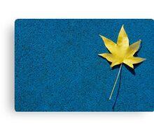 Yellow leaf on blue ground Canvas Print