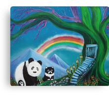 The Panda The Cat and The Rainbow Canvas Print