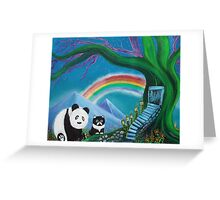 The Panda The Cat and The Rainbow Greeting Card
