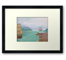 Old sailing ships. Framed Print