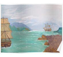 Old sailing ships. Poster