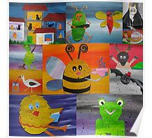 collage of animals from recycled math books Poster