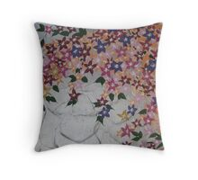 peach pink green purple silver with flowers  Throw Pillow