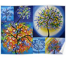 bright happy hippy trees Poster