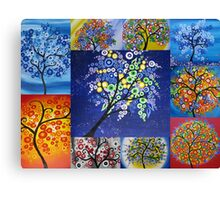 bright tree collage by Australian Artist Catherine Jacobs Canvas Print